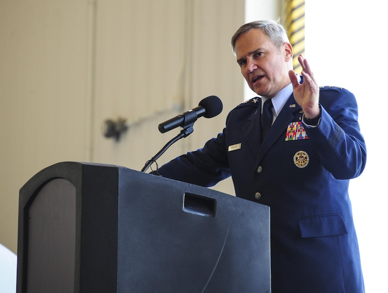 U.S. Air Force Lt. Gen. Chris Nowland, Twelfth Air Force (Air Forces Southern) commander, makes his remarks as the presiding officer during a change of command ceremony at Davis-Monthan Air Force Base, Ariz., Aug. 5, 2016. Col. Scott Campbell assumed command of the 355th Fighter Wing from Col. James Meger. (U.S. Air Force photo by Senior Airman Chris Drzazgowski)