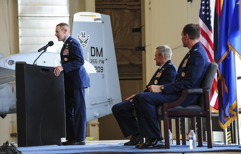 U.S. Air Force Col. Scott Campbell makes his remarks as the incoming commander of the 355th Fighter Wing during a change of command ceremony at Davis-Monthan Air Force Base, Ariz., Aug. 5, 2016. Campbell is a command pilot with more than 3,200 hours in the T-34, T-38, A-10 and MQ-9. (U.S. Air Force photo by Senior Airman Chris Drzazgowski)