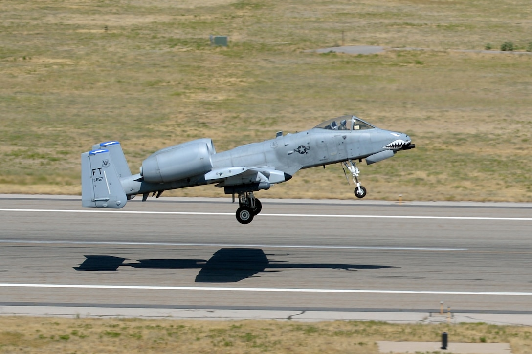 An A-10 Thunderbolt II aircraft from Moody Air Force Base, Ga., takes off from Hill AFB, Aug. 2. Aircraft from Moody are participating in an exercise know as Combat Hammer at Hill and the Utah Test and Training Range. (U.S. Air Force photo by Todd Cromar)