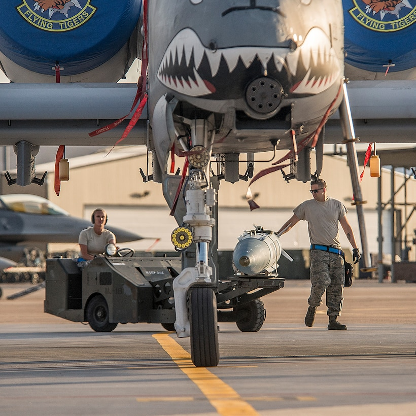 Airmen assigned to the 23rd Aircraft Maintenance Squadron, Moody Air Force Base, Ga., load a bomb onto an A-10 Thunderbolt II aircraft Aug. 3 at Hill AFB, Utah. Moody Airmen and aircraft are at Hill participating in a combat exercise known as Combat Hammer. Combat Hammer is conducted by the 86th Fighter Weapons Squadron at Hill AFB. (U.S. Air Force photo by Paul Holcomb)