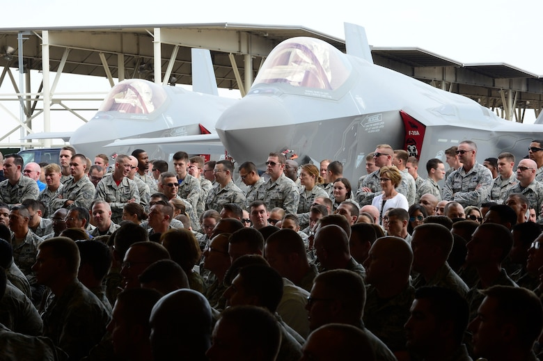 Hundreds of military and civilian Airmen attend the F-35A Lightning II aircraft initial operational capability ceremony Aug. 5 at Hill Air Force Base, Utah. (U.S. Air Force photo by David Perry)