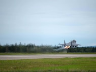 A U.S. Air Force F-15E Strike Eagle dual-role fighter aircraft assigned to the 336th Fighter Squadron, Seymour Johnson Air Force Base, N.C., takes off Aug. 5, 2016, at Eielson Air Force Base, Alaska, during a familiarization flight for RED FLAG-Alaska (RF-A) 16-3. RF-A provides training for deployed maintenance and support personnel in sustainment of large-force deployed air operations. (U.S. Air Force photo by Staff Sgt. Shawn Nickel)