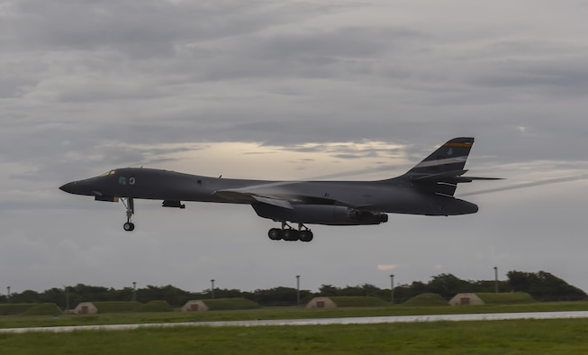 A B-1B Lancer assigned to the 34th Expeditionary Bomb Squadron, deployed from Ellsworth Air Force Base, S.D., lands Aug. 6, 2016, at Andersen AFB, Guam. Incorporating the B-1 into Pacific Command operations, exercises the Air Force's ability to integrate a unique capability with regional allies and partners in various parts of the world. (U.S. Air Force photo by Tech. Sgt. Richard P. Ebensberger)