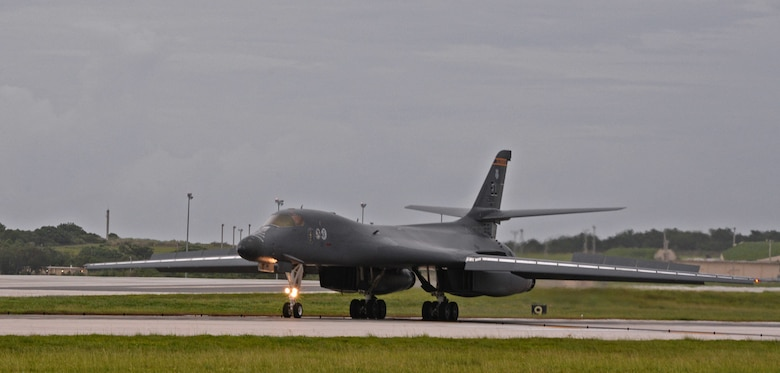 A B-1B Lancer assigned to the 34th Expeditionary Bomb Squadron, deployed from Ellsworth Air Force Base, S.D., lands Aug. 6, 2016, at Andersen AFB, Guam. The B-1s last participated in the U.S. Pacific Command's Continuous Bomber Presence mission approximately 10 years ago and are returning to support USPACOM in conducting routine, strategic deterrence and regional training missions. (U.S. Air Force photo by Senior Airman Joshua Smoot)
