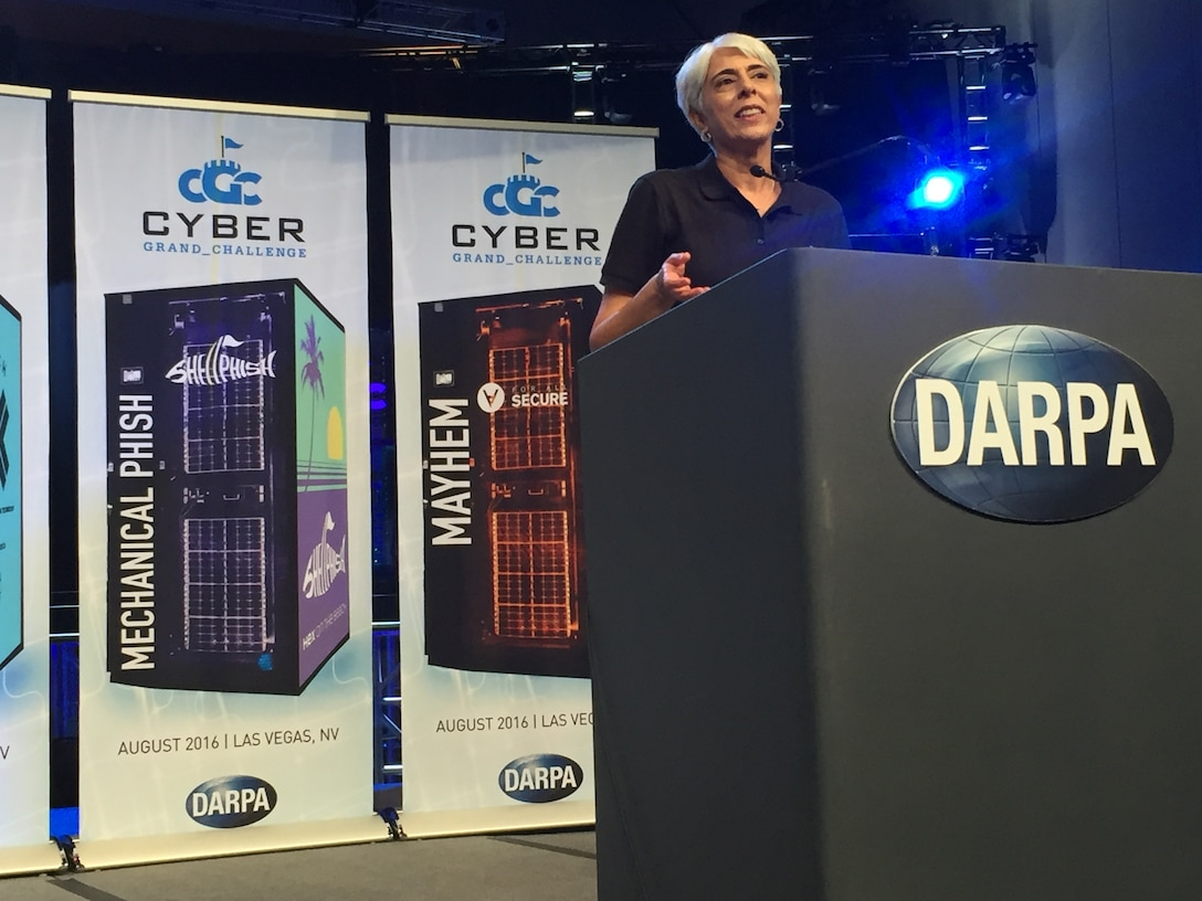 DARPA Director Arati Prabhakar speaks during the award ceremony after the world's first all-machine hacking tournament Aug. 4, 2016, in Las Vegas. Seven teams competed in the capture-the-flag event and three of them won cash prizes. DoD photo by Cheryl Pellerin