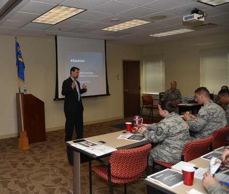 Bank United Executive Vice President Ian Norkin teaches to a class during the Top Three Lunch and Learn at MacDill Air Force Base, FL on Aug. 7, 2016. The purpose of the lunch and learn is to inform Airmen more about ways to better their finances. Past presentations have focused on resume writing, job searching and starting small businesses.  (U.S. Air Force photo by Senior Airman Xavier Lockley)