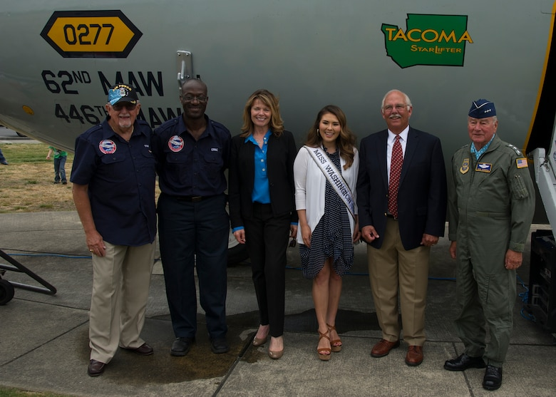 From left to right: Tom Hanson, President of the McChord Air Museum, Ernie White, McChord Air Museum volunteer, Sandra Marth Hill, Miss Washington 1966, Kelsey Schmidt, Miss Washington 2016, Jeff Demmon, son of Lt. Col. George Demmon, and retired Lt. Gen. Vernon Kondra, 21st Air Force commander and former 62nd Airlift Wing commander, next to the C-141 Starlifter, serial number 65-0277, August 6, 2016, at Heritage Hill, Joint Base Lewis-McChord. Lt. Col. Demmon piloted the first C-141 Starlifter into McChord Field on August 5, 1966. Members of the 62nd and 446th Airlift Wings celebrated with museum volunteers, veterans, and community members for the 50th anniversary of the arrival of McChord's first Starlifter. (Air Force Reserve photo by Tech. Sgt. Bryan Hull)