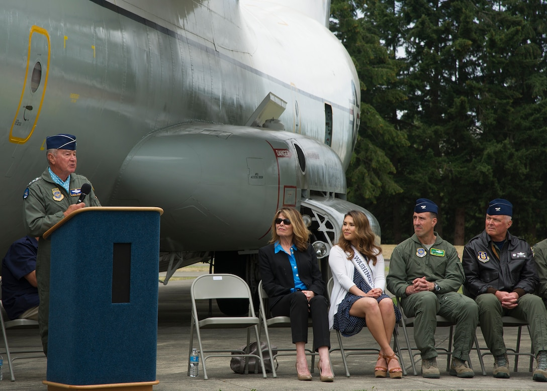 Retired Lt. Gen. Vernon Kondra, 21st Air Force commander and former 62 Airlift Wing commander, speaks during the rechristening ceremony of the C-141 Starlifter, serial number 65-0277, August 6, 2016, at Heritage Hill, Joint Base Lewis-McChord. In honor of the first C-141 arrival at McChord, members of the 62nd and 446th Airlift Wings celebrated with museum volunteers, veterans, and community members for the 50th anniversary of the arrival of McChord's first C-141. (Air Force Reserve photo by Tech. Sgt. Bryan Hull)