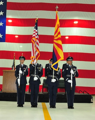 Members of the 161st Air Refueling Wing Color Guard prepare to post the colors during the wing's change of command ceremony at Phoenix Sky Harbor Air National Guard Base, Dec. 5. The change of command ceremony is rooted in military history, dating back to the 18th century. (U.S. Air National Guard photo by Master Sgt. Kelly Deitloff)