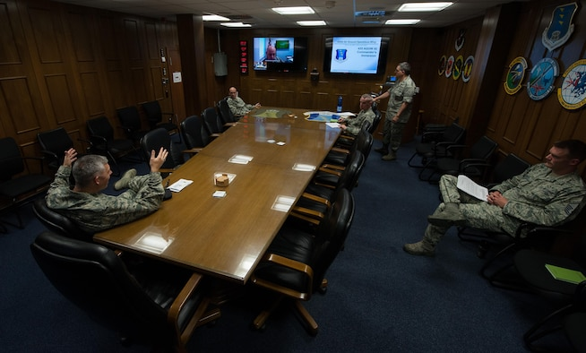 A group of commanders from the 435th Air Ground Operations Wing participate in an inspector general meeting Aug. 4, 2016, at Ramstein Air Base, Germany. The meetings are designed to properly train commanders on what to expect during IG inspections. (U.S. Air force photo/Airman 1st Class Lane T. Plummer)