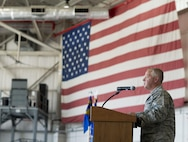 Col. Patrick Erdman addresses the 914th Mission Support Group as their Commander, shortly after assuming command during a formal ceremony, August 6, 2016, Niagara Falls Air Reserve Station, N.Y. (U.S. Air Force photo by Tech. Sgt. Stephanie Sawyer)