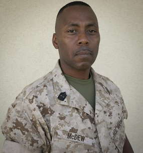 "Sgt. Maj. Charles McDew, sergeant major, 3rd Battalion, 4th Marines, 7th Marine Regiment, assumed leadership of ""Darkside"" in January of 2016 and has served in the Marine Corps for more than 20 years. (Official Marine Corps photo by Cpl. Medina Ayala-Lo/ Released)"