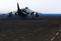 An AV-8B Harrier II with 22nd Marine Expeditionary Unit (MEU), takes off from the flight deck of the amphibious assault ship USS Wasp (LHD 1) on Aug. 1, 2016. 22nd MEU, embarked on the Wasp is conducting precision air strikes in support of the Libyan Government of National Accord-aligned forces against Daesh targets in Sirte, Libya as part of Operation Odyssey Lightning.
