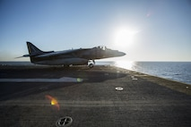 An AV-8B Harrier II with 22nd Marine Expeditionary Unit (MEU), launches from the flight deck of the amphibious assault ship USS Wasp (LHD 1) Aug. 1, 2016. 22nd MEU, embarked on the Wasp is conducting precision air strikes in support of the Libyan Government of National Accord-aligned forces against Daesh targets in Sirte, Libya as part of Operation Odyssey Lightning.