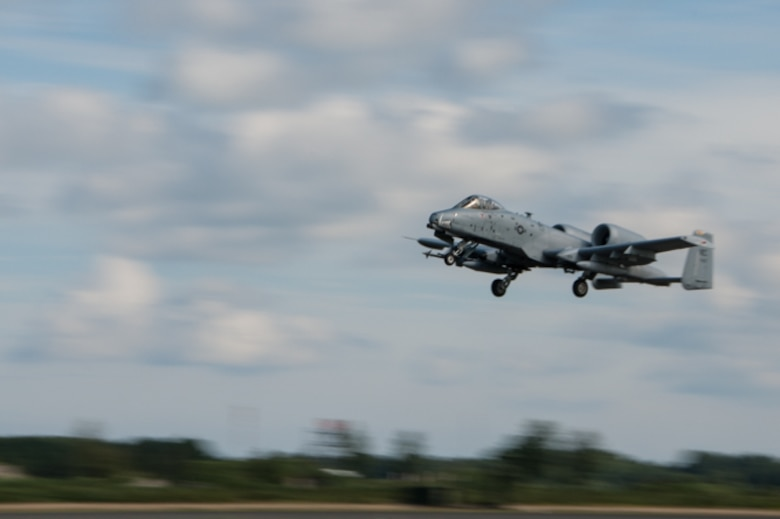A U.S. Air Force A-10 Thunderbolt II from the 442nd Fighter Wing, Whiteman Air Force Base, Missouri, takes off at Ämari Air Base, Estonia, Aug. 5, 2016. The A-10 is flying to Tapa Range to perform air-to-ground training with Estonian and NATO allies in support of Operation Atlantic Resolve. (U.S. Air Force photo by Senior Airman Missy Sterling/released)