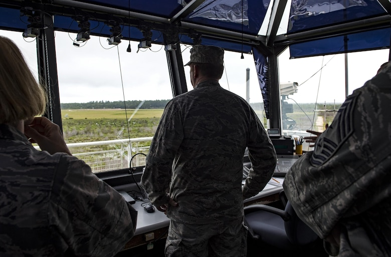 U.S. Air Force Maj. Gen. Richard Scobee, 10th Air Force commander, views Grand Bay Range, Aug. 6, 2016, at Moody Air Force Base, Ga. Grand Bay Range and its surrounding airspace is routinely used by the 476th Fighter Group for tactical air and ground maneuvers and weapons training. (U.S. Air Force photo by Airman 1st Class Janiqua P. Robinson)