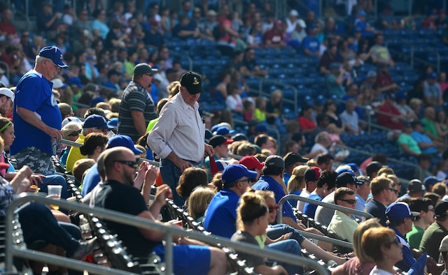 Active-duty members and veterans attend an Omaha Storm Chasers game at Werner Park in Papillion, Nebraska on Aug. 7 as part of a special military appreciation night.  The Storm Chasers baseball team is the Triple-A affiliate of the Kansas City Royals.  (U.S. Air Force photo by Josh Plueger)