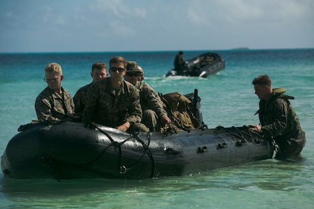 U.S. Marines and Sailors arrive on Motutapu Island, Tonga, July 25, 2016, for a multi-national, bilateral exercise with Tongan Soldiers as part of Task Force Koa Moana's deployment in the Asia-Pacific region. The service members will conduct basic infantry and live-fire range training, with assistance from reconnaissance boats to operationalize USNS Sacagawea (T-AKE 2), to increase interoperability and relations. The Marines and Sailors with the task force are originally assigned to I and III Marine Expeditionary Force.