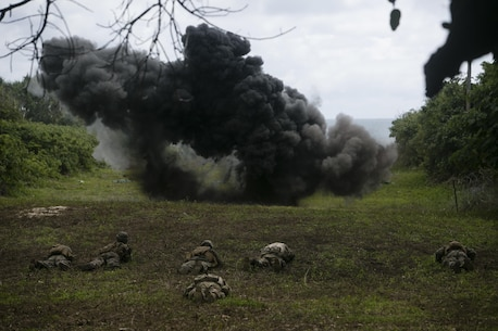 U.S. Marines and Tongan soldiers take cover while a demolition charge clears a path through concertina wire, July 28, 2016, during a live-fire range as part of a multi-national, bilateral exercise designed to increase interoperability and relations. The service members combined and applied skills practiced during the exercise in a culminating range such as high explosive exploitation, buddy rushing, demolition and beach insertion. The Marines are with Task Force Koa Moana and are originally assigned to I and III Marine Expeditionary Force.