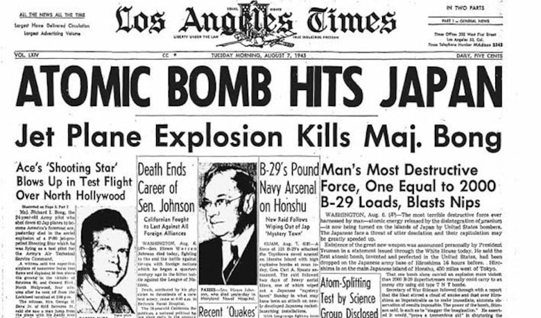 Los Angeles Times front page from Aug. 7, 1945, which included the story about the death of Richard Bong. (Courtesy of 92nd Air Refueling Wing Historian Office)