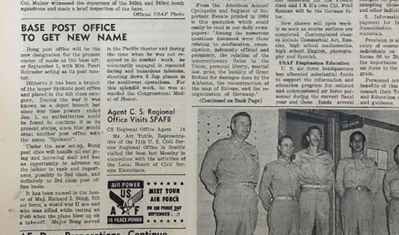 Clipping from Spokane Bomber Views' front page from Aug. 27, 1948, including the story about the renaming of the post office on what is now Fairchild Air Force Base, Wash. (Courtesy of the 92nd Air Refueling Wing Historian Office)