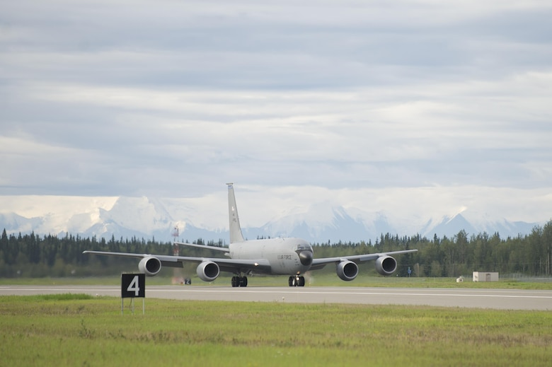 A U.S. Air Force KC-135 Stratotanker aerial refueling aircraft assigned to the 91st Air Refueling Squadron, MacDill Air Force Base, Fla., prepares to launch for a morning sortie Aug. 8, 2016, during RED FLAG-Alaska (RF-A) 16-3 at Eielson Air Force Base, Alaska. The Stratotanker provides core aerial refueling support to Air Force, Navy and allied nation aircraft during RF-A 16-3, a Pacific Air Forces commander-directed exercise that provides realistic combat training to participants. (U.S. Air Force photo by Airman Isaac Johnson)