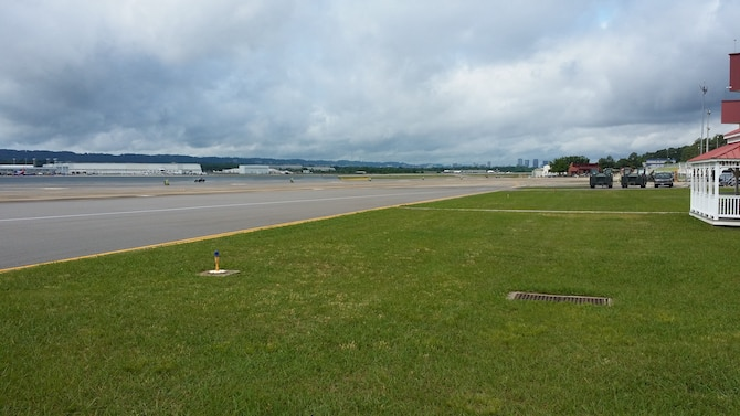 The flightline at the 117th Air Refueling Wing in Birmingham, Ala. sits empty as most of the KC-135R Stratotankers are supporting global operations.  (U.S. Air National Guard photo by Lt. Col. James G. Putman/Released)