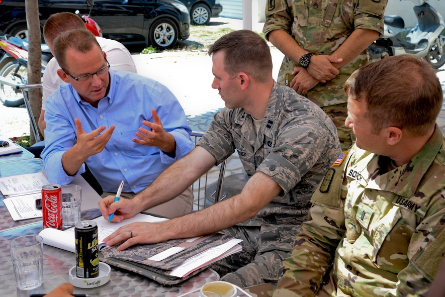 From left, U.S. Army Maj. Richard Karcher, Bilateral Affairs Officer with the Albanian Office of Defense Cooperation, U.S. Air Force Capt. Andrew Matejek, 177th Fighter Wing Civil Engineer and U.S. Army 1st Lt. John Sorich, 457th Civil Affairs Battalion, discuss Humanitarian and Civic Assistance renovation plans and projects being completed during the 177th FW unit's deployment for training to Vau i Dejës, Albania on July 7, 2016. The 177th Fighter Wing civil engineers' planned projects include plumbing, electrical, ceramic tile, roofing, and door and frame maintenance and installations at a local medical clinic and a school in the nearby municipality of Mjede. New Jersey and Albania are paired under the National Guard's State Partnership Program and are a proven partnership built upon shared values, experiences and vision. (U.S. Air National Guard photo by Master Sgt. Andrew J. Moseley/Released)