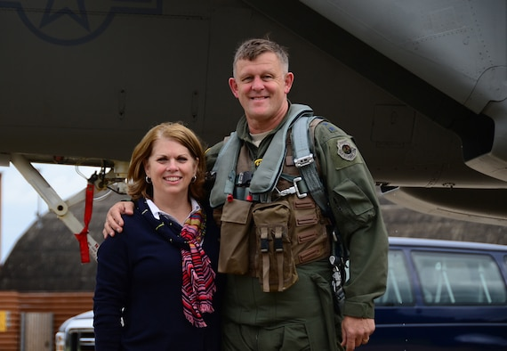 General Frank Gorenc and Mrs. Sharon Gorenc stand together in front of a F-15 at RAF Lakenheath, U.K., in August 2015. This week the general culminates a 37 1/2 year career when he relinquishes command Thursday of U.S. Air Forces in Europe, U.S. Air Forces Africa and NATO's Allied Air Command. (Courtesy photo)