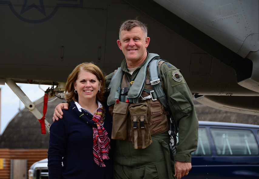 General Frank Gorenc and Mrs. Sharon Gorenc stand together in front of a F-15 at RAF Lakenheath, U.K., in August 2015. This week the general culminates a 37 1/2 year career when he relinquishes command Thursday of U.S. Air Forces in Europe, U.S. Air Forces Africa and NATO's