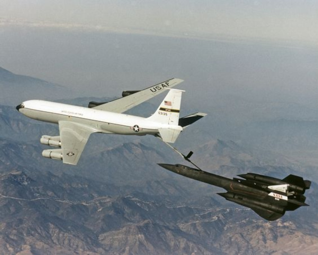 A KC-135 Stratotanker refuels a SR-71 Blackbird at an unknown location. The KC-135 has been in the Air Force's inventory since 1957, serving in many of our nation's conflicts and supporting the Air Force's Intelligence Surveillance and Reconnaissance mission, over the past six decades. (Courtesy photo)