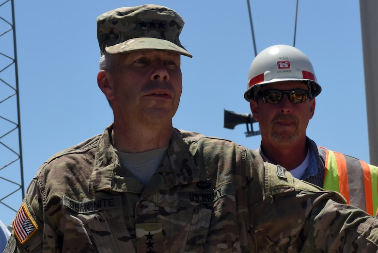 Tony Ellis (Right), Kentucky Lock Addition Project resident engineer, updates Lt. Gen. Todd T. Semonite, U.S. Army Corps of Engineers commander and chief of engineers, during the general's visit to the Kentucky Lock Addition Project in Grand Rivers, Ky., June 7, 2016. Ellis, 53, passed away July 27, 2016.  Serving on the project since 2000, his leadership and expertise are being recognized for the project's success.