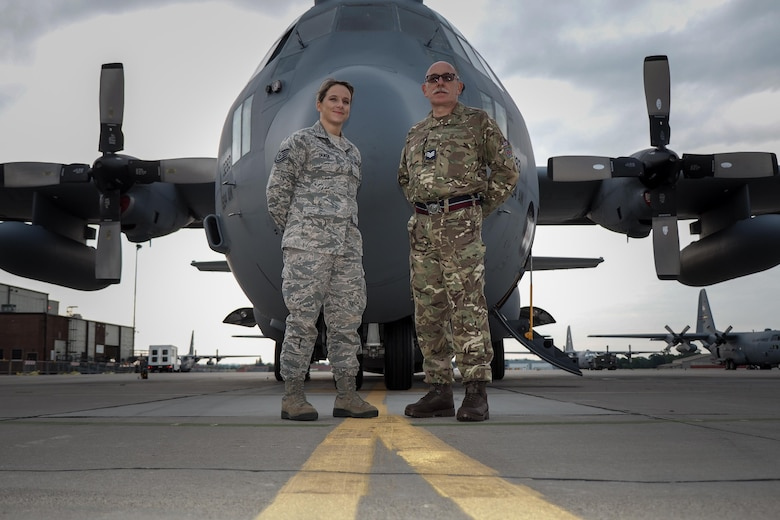 Staff Sgt. Amy Yanta, 934th Aeromedical Evacuation Squadron, and Royal Air Force Sgt. Anthony Sanders, 612 Royal Air Force Reserve, will spend two weeks training together at the Minneapolis-St. Paul Air Reserve Station, Minnesota.