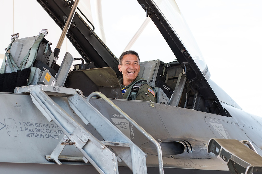Maj. Gen. Michael Kim, mobilization assistant to the Air Force Reserve Command commander, prepares for his first F-16 Fighting Falcon flight Aug. 8, 2016, with the 301st Fighter Wing at Naval Air Station Fort Worth Joint Reserve Base, Texas. Kim experienced the F-16's combat capability to Kim while on a routine training mission.