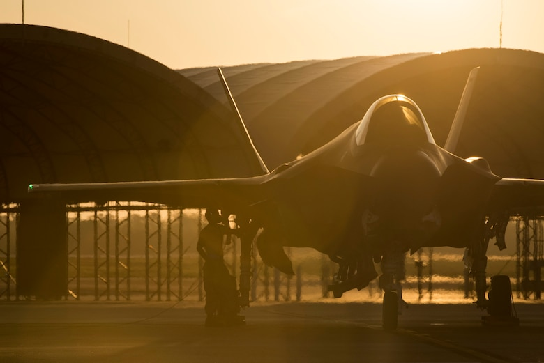 A 58th Aircraft Maintenance Unit crew chief prepares an F-35A for take off Aug. 2, 2016, at Eglin Air Force Base, Fla. The F-35A is the latest deployable fifth generation aircraft capable of providing air superiority, interdiction, suppression of enemy air defenses and close air support as well as great command and control functions through fused sensors, and will provide pilots with unprecedented situational awareness of the battle space. (U.S. Air Force photo by Senior Airman Stormy Archer)