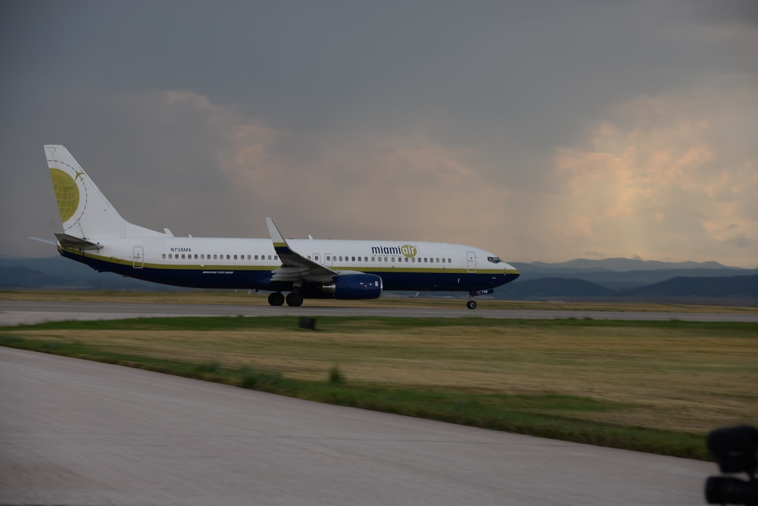 A Boeing 737 aircraft takes off from Ellsworth Air Force Base (AFB), S.D., Aug. 1, 2016. More than 300 Airmen from the 28th Bomb Wing have deployed to Andersen AFB, Guam, to provide assurance and global deterrence for U.S. allies in the Pacific. (U.S. Air Force photo by Airman 1st Class Sadie Colbert)
