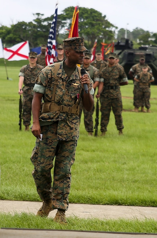 Sgt. Maj. James Roberts addresses the audience during his relief and appointment ceremony at Camp Hansen, Okinawa, Japan, Aug. 10, 2016. Roberts relinquished the sword of office to Sgt. Maj. Jim Lanham during the ceremony. Roberts retired after 30 years of service, ending his career as sergeant major of the 31st Marine Expeditionary Unit. The 31st MEU led several humanitarian assistance and disaster relief operations across the Pacific region, as well as various bilateral and multilateral exercises with Pacific partner nations, during Roberts' tenure as the 31st MEU's senior enlisted advisor.