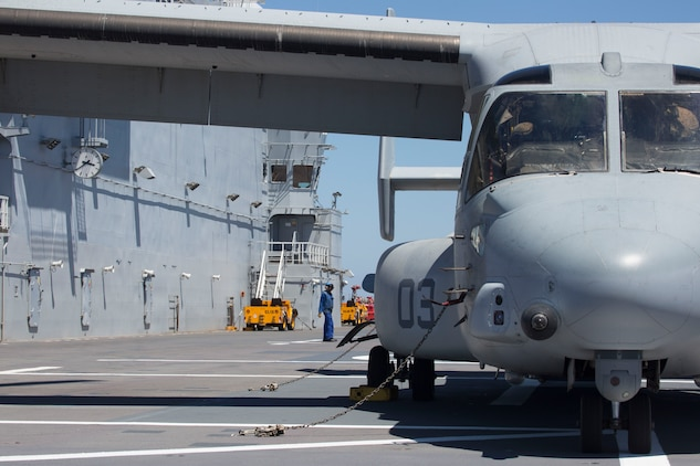 An MV-22B Osprey with Marine Medium Tiltrotor Squadron 266, Special Purpose Marine Air-Ground Task Force-Crisis Response-Africa, receives fuel from the BPC Dixmude as part of bilateral training in the Gulf of Cadiz, Spain, Aug. 6, 2016. Bilateral training with partner nations builds interoperability and flexibility for SPMAGTF-CR-AF to conduct a multitude of crisis response missions. (U.S. Marine Corps photo by 1stLt. John McCombs.)
