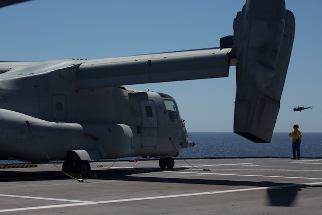 An MV-22B Osprey with Marine Medium Tiltrotor Squadron 266, Special Purpose Marine Air-Ground Task Force-Crisis Response-Africa, successfully lands aboard the BPC Dixmude as part of bilateral training in the Gulf of Cadiz, Spain, Aug. 6, 2016. Bilateral training with partner nations builds interoperability and flexibility for SPMAGTF-CR-AF to conduct a multitude of crisis response missions. (U.S. Marine Corps photo by 1stLt. John McCombs.)