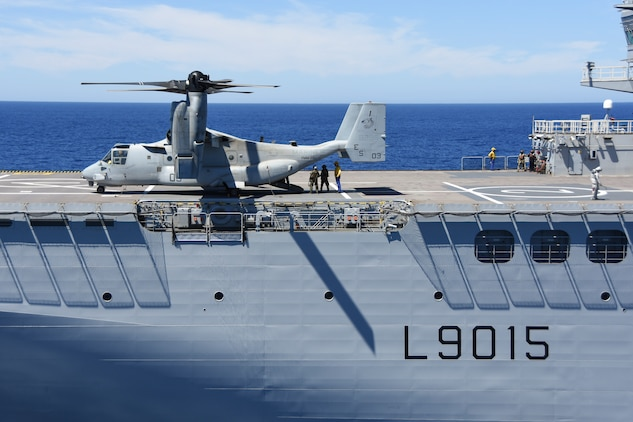 An MV-22B Osprey with Marine Medium Tiltrotor Squadron 266, Special Purpose Marine Air-Ground Task Force-Crisis Response-Africa, lands onboard the BPC Dixmude as part of bilateral training in the Gulf of Cadiz, Spain, Aug. 6, 2016. The Dixmude served as a platform to assist SPMAGTF-CR-AF in maintaining their readiness by hosting carrier qualification training. (Courtesy photo provided by Lt. Cmdr. Florian Edus)