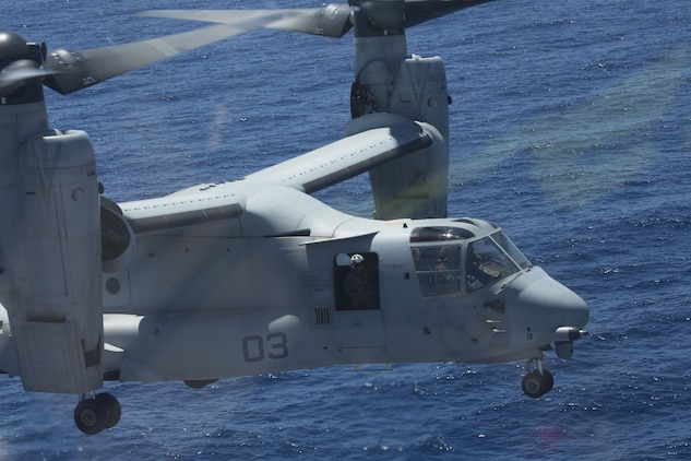An MV-22B Osprey with Marine Medium Tiltrotor Squadron 266, Special Purpose Marine Air-Ground Task Force-Crisis Response-Africa, prepares to land aboard the BPC Dixmude as part of bilateral training in the Gulf of Cadiz, Spain, Aug. 6, 2016. Bilateral training with partner nations builds interoperability and flexibility for SPMAGTF-CR-AF to conduct a multitude of crisis response missions. (U.S. Marine Corps photo by 1st Lt. John McCombs)