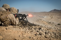 A Marine with Kilo Company, 3rd Battalion, 5th Marine Regiment, provides cover fire for his squad during the Marine Air-Ground Task Force Integrated Experiment (MIX-16) at Marine Corps Air Ground Combat Center Twentynine Palms, Calif., Aug. 5, 2016. The experiment was conducted to test new gear and assess its capabilities for potential future use. The Marine Corps Warfighting Lab (MCWL) identifies possible challenges of the future, develops new warfighting concepts, and tests new ideas to help develop equipment that meets the challenges of the future operating environment.