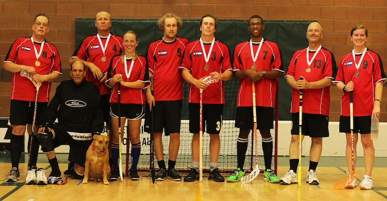 Staff Sgt. Matthew Coleman-Foster (third from right), 50th Space Wing, and his teammates display their bronze medals following a floorball tournament in Utah, July 30, 2016. The tournament provided a good test for Coleman-Foster before he travels to Riga, Latvia, as part of Team USA for the Unihoc Riga Cup, Aug. 12-14, 2016. (Courtesy photo)