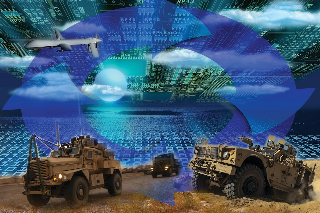 An illustration shows the blurred boundaries between traditional cyber and electronic warfare.