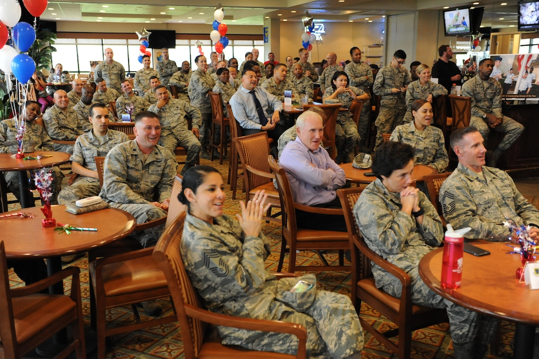 Keesler personnel gather at the Bay Breeze Event Center during a recognition ceremony for Tech. Sgt. Cassandra Cruz, 81st Force Support Squadron Airman Leadership School instructor, for her selection as one of the 12 Outstanding Airmen of the Year Aug. 2, 2016, on Keesler Air Force Base, Miss. This award recognizes 12 enlisted personnel for superior leadership, job performance, community involvement and personal achievements. (U.S. Air Force photo by Kemberly Groue/Released)