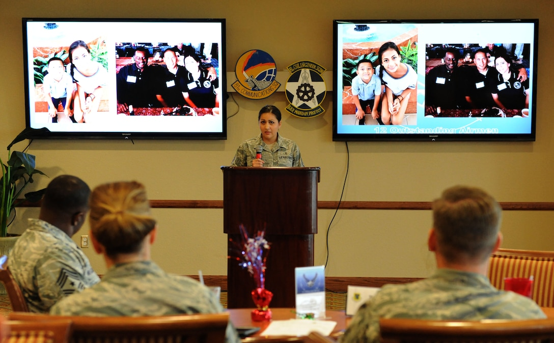 Tech. Sgt. Cassandra Cruz, 81st Force Support Squadron Airman Leadership School instructor, delivers remarks during a recognition ceremony for her selection as one of the 12 Outstanding Airmen of the Year at the Bay Breeze Event Center Aug. 2, 2016, on Keesler Air Force Base, Miss. This award recognizes 12 enlisted personnel for their superior leadership, job performance, community involvement and personal achievements. (U.S. Air Force photo by Kemberly Groue/Released)