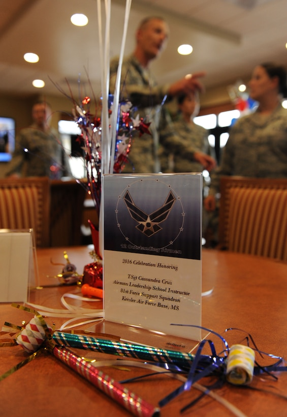 Keesler personnel gather at the Bay Breeze Event Center during a recognition ceremony for Tech. Sgt. Cassandra Cruz, 81st Force Support Squadron Airman Leadership School instructor, for her selection as one of the 12 Outstanding Airmen of the Year Aug. 2, 2016, on Keesler Air Force Base, Miss. This award recognizes 12 enlisted personnel for their superior leadership, job performance, community involvement and personal achievements. (U.S. Air Force photo by Kemberly Groue/Released)