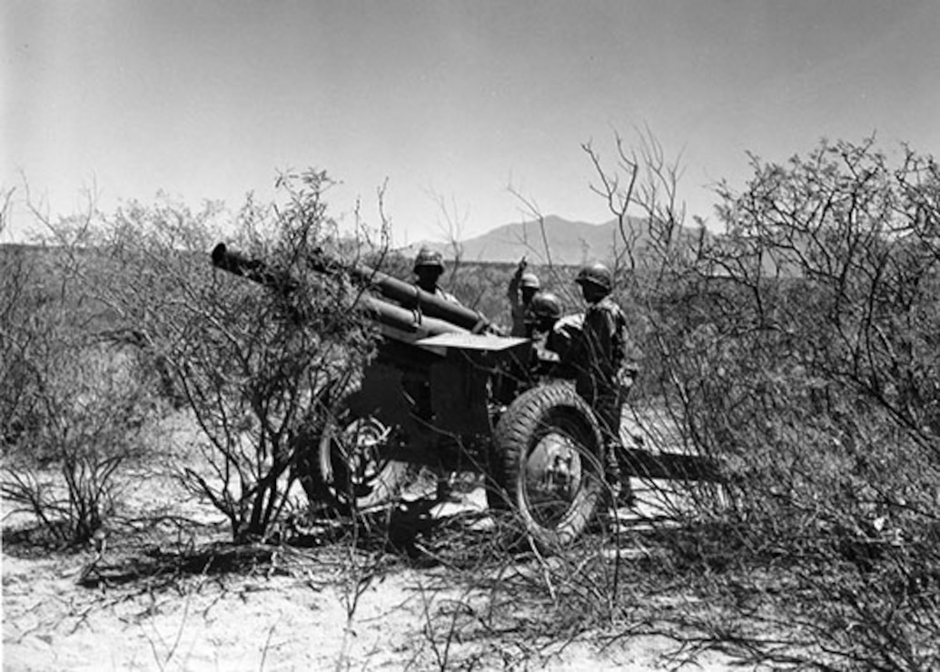 The 93rd Division with a towed 105mm Howitzer in the desert near Fort Huachuca in 1943. Source: Fort Huachuca Military Museum.