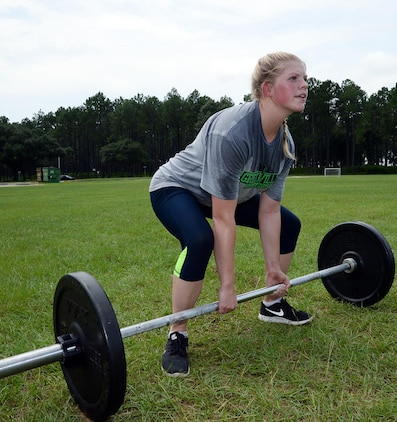 2nd Lt. Delaney T. Bourlakov, adjutant, Marine Corps Logistics Base Albany, performs a deadlift with 95 pounds during her High Intensity Tactical Training class, Aug. 5. She is preparing for the second annual High Intensity Tactical Training Athlete Championship, Aug. 15-18, at Marine Corps Air Station Miramar in San Diego, Calif.