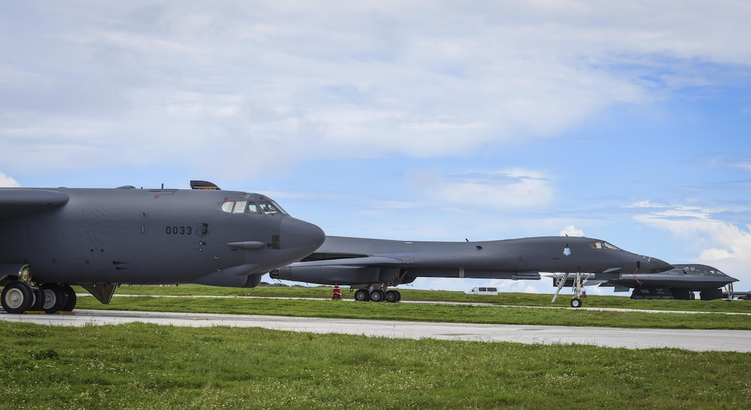 A B-52 Stratofortress, B-1 Lancer and B-2 Spirit sit beside one another on the flightline at Andersen Air Force Base, Guam, Aug.10, 2016. This marks the first time in history that all three of Air Force Global Strike Command's strategic bomber aircraft are simultaneously conducting operations in the U.S. Pacific Command area of operations. The B-1 Lancer, which arrived at Andersen Aug. 6, will replace the B-52 in support of the U.S. Strategic Command Continuous Bomber Presence mission. The CBP bomber swap between the B-1 and B-52 is occurring throughout the month of August as the B-1s return to support this mission for the first time since April 2006. In addition to the CBP bomber swap, three B-2s arrived in theater to conduct a Bomber Assurance and Deterrence deployment. The CBP mission and BAAD deployments are part of a long-standing history of maintaining a consistent bomber presence in the Indo-Asia-Pacific in order to maintain regional stability, and provide assurance to our allies and partners in the region. (U.S. Air Force photo by Tech. Sgt. Richard Ebensberger)